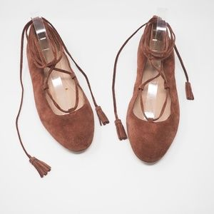Madewell Inga Lace Up Flats Suede Rust, Size 11